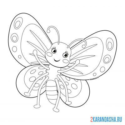 Print a coloring book children's picture of a butterfly on A4