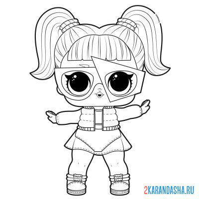 Print a coloring book lol glamstronaut doll with glasses shiny on A4