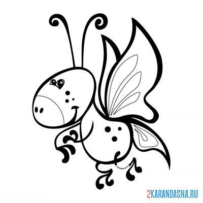Print a coloring book cartoon butterfly on A4