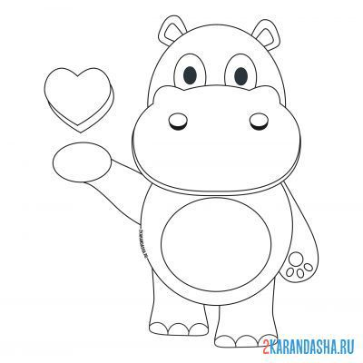Print a coloring book hippo with a heart on his hand on A4