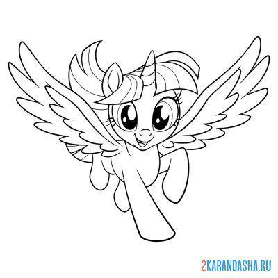 Раскраска май литл пони радуга дэш с крыльями для девочек ...