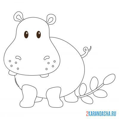 Print a coloring book hippo with a leaf on A4