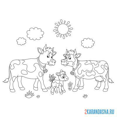 Print a coloring book dad is a bull, mom is a cow and a calf on A4
