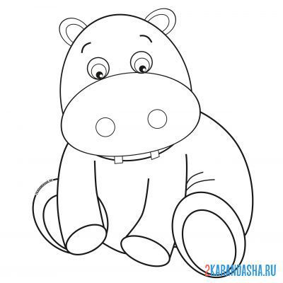 Print a coloring book pensive hippo on A4