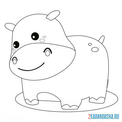 Print a coloring book hippo in a puddle on A4