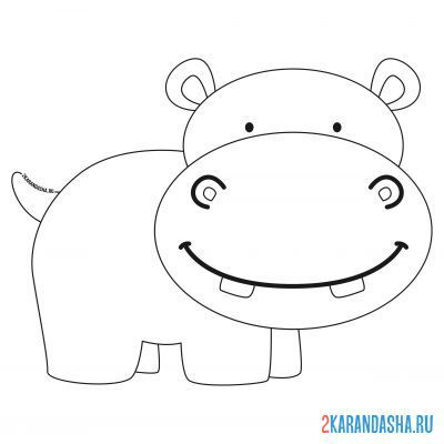 Print a coloring book smiling hippo on A4