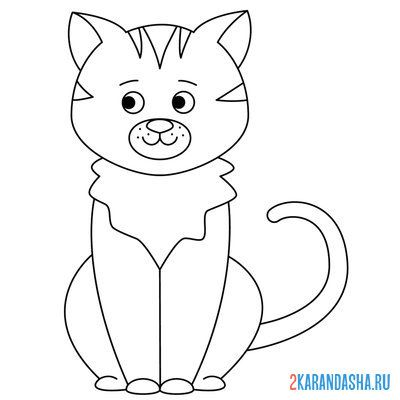 Print a coloring book cat, kitty on A4