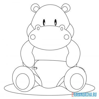 Print a coloring book little hippo in diapers on A4
