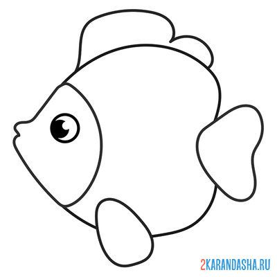 Print a coloring book fish on A4
