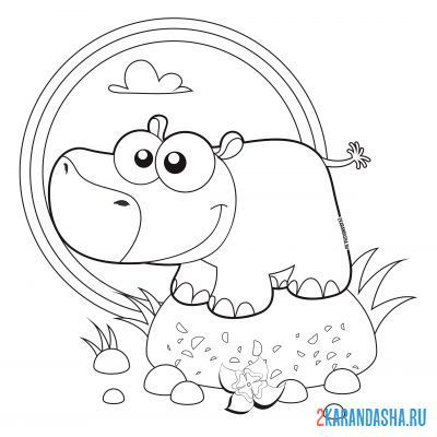 Print a coloring book hippopotamus stands on a stone on A4