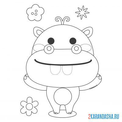 Print a coloring book hippo with a flower on A4