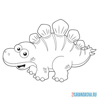 Print a coloring book cute dinosaur on A4