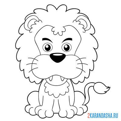 Print a coloring book serious lion on A4