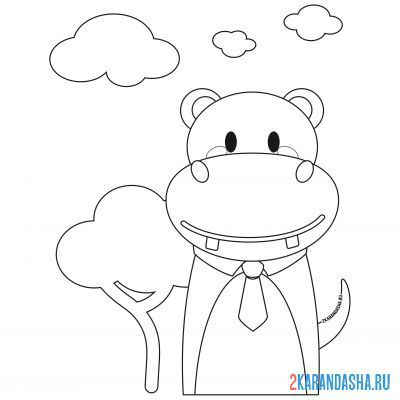 Print a coloring book hippo in a tie on A4