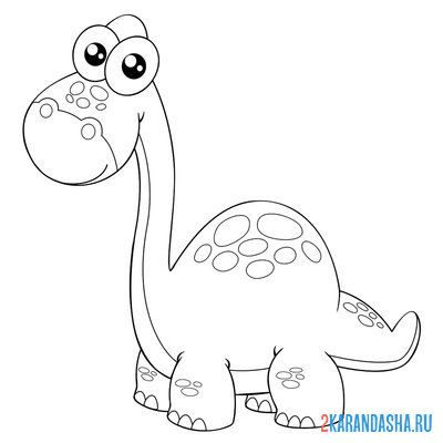Print a coloring book dinosaur with big eyes on A4