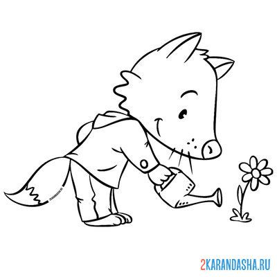 Print a coloring book fox watering a flower on A4
