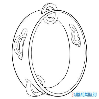 Print a coloring book musical instrument tambourine on A4