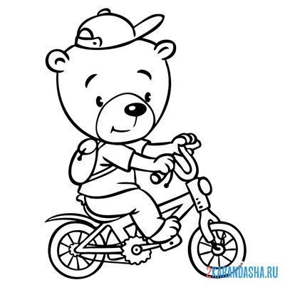 Print a coloring book bear on a bike on A4