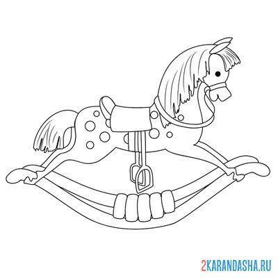 Print a coloring book rocking horse on A4