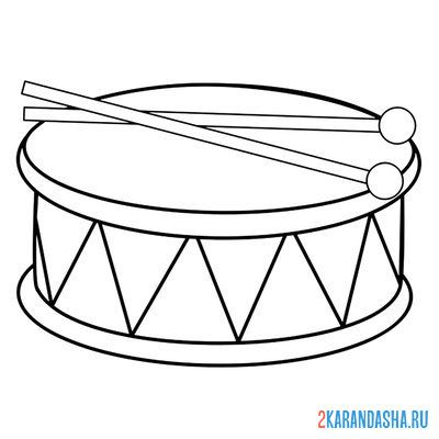 Print a coloring book drum musical instrument on A4