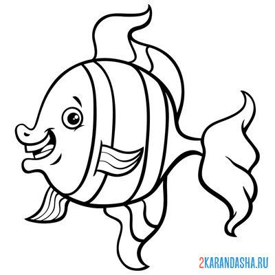 Print a coloring book sea fish on A4