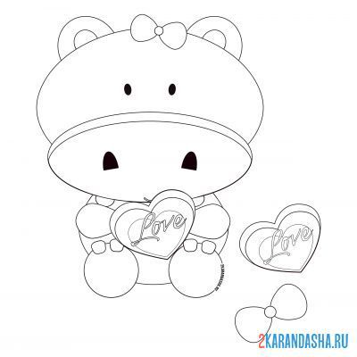 Print a coloring book hippo girl with heart on A4