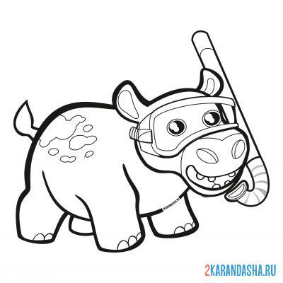 Print a coloring book hippopotamus underwater mask on A4