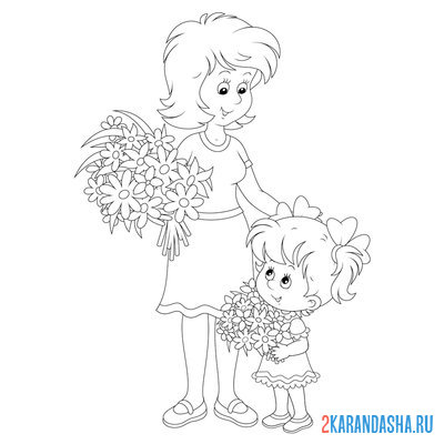 Print a coloring book mom and girl with summer bouquet on A4
