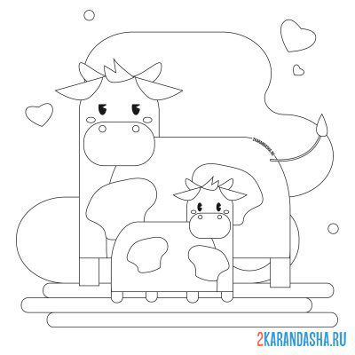 Print a coloring book mother cow with calf on A4