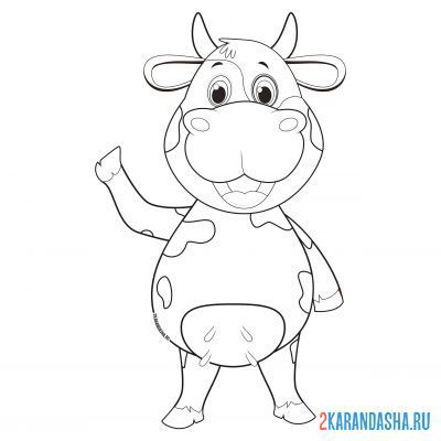 Print a coloring book cow waving on A4