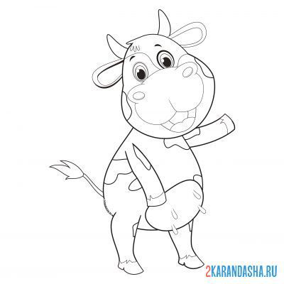 Print a coloring book cheerful cow on A4
