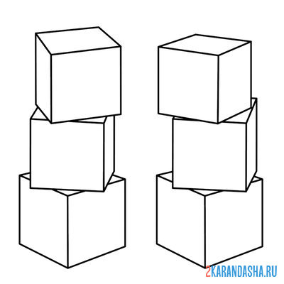 Print a coloring book toy cubes on A4
