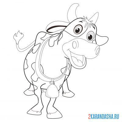Print a coloring book cow with a bell on its neck on A4