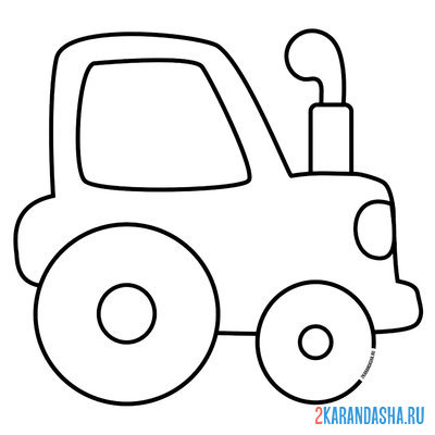 Print a coloring book toy tractor for boys on A4