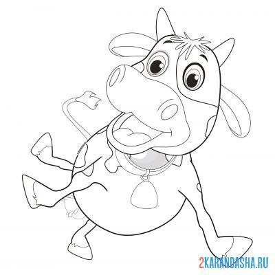 Print a coloring book cow dancing on A4