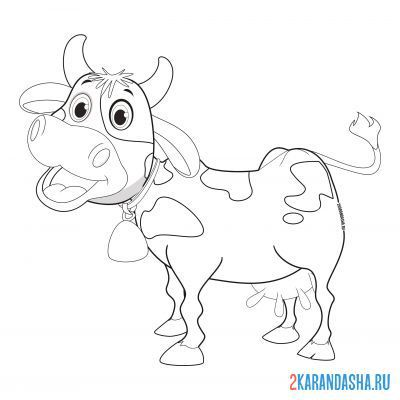 Print a coloring book cow hums on A4