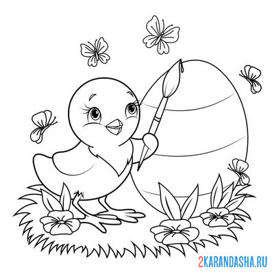 Print a coloring book chicken paints an egg for easter on A4