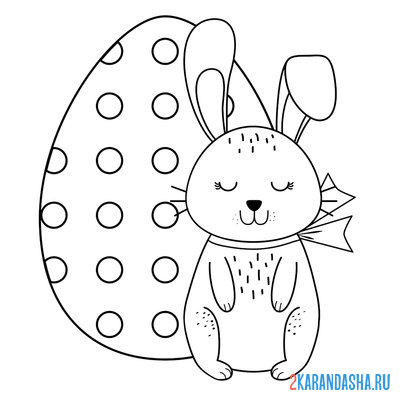 Print a coloring book cute bunny for easter on A4