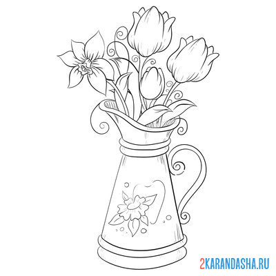 Print a coloring book beautiful spring bouquet in a vase on A4