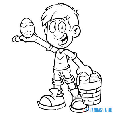 Print a coloring book boy with easter eggs on A4