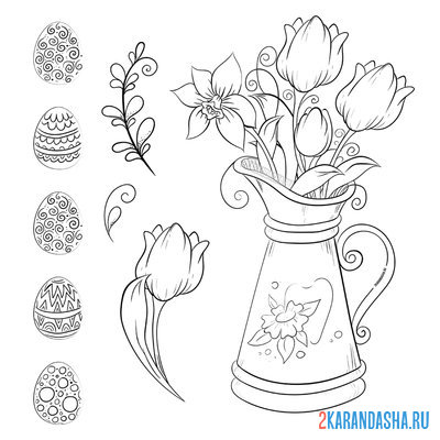 Print a coloring book beautiful easter set on A4