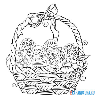 Print a coloring book easter basket with flowers and eggs on A4
