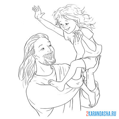 Print a coloring book jesus for easter with a child on A4