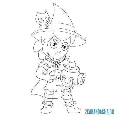 Print a coloring book shelley witch with a cat on A4