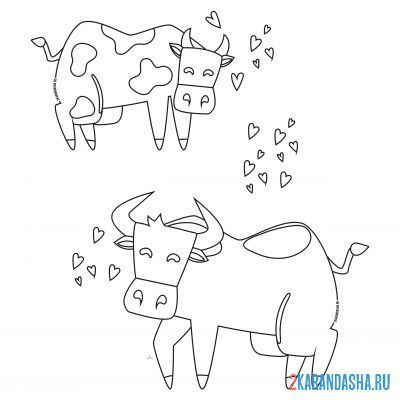 Print a coloring book bull and cows couple in love on A4