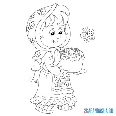 Print a coloring book girl with easter cake on A4