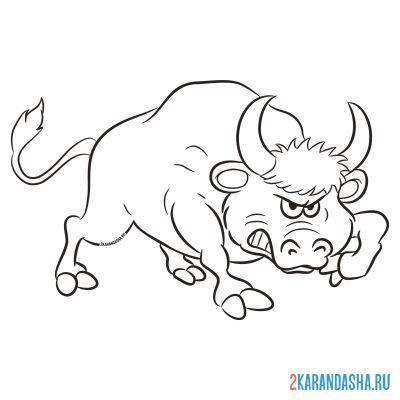 Print a coloring book strong bull on A4
