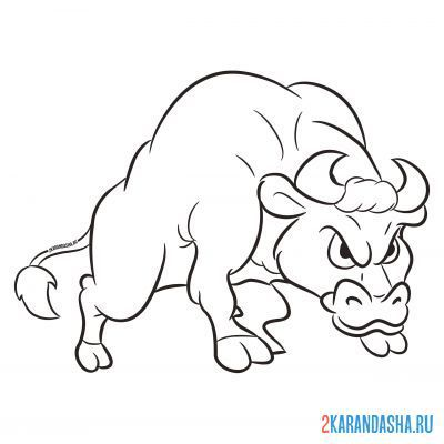 Print a coloring book bull strong on A4