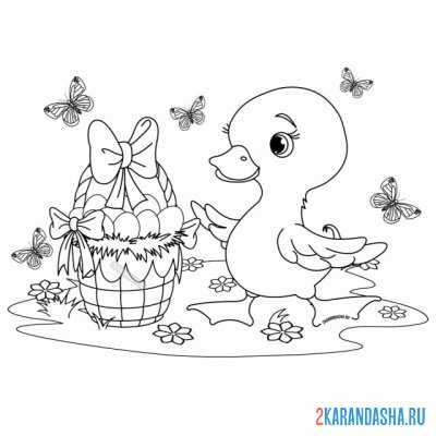 Print a coloring book cute easter duckling and a basket with eggs on A4