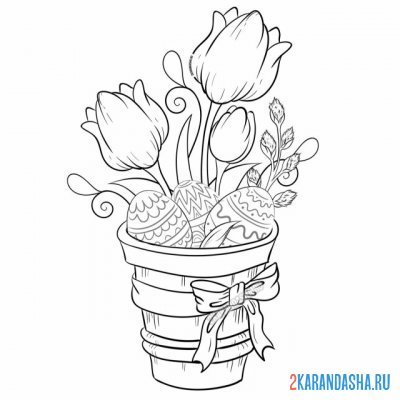 Print a coloring book beautiful easter composition with flowers and eggs on A4